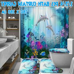 1/3/4PCS Dolphin Waterproof Bath Shower Curtain Toilet Cover