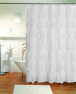 1 Piece Gypsy Ruffle Crushed Sheer Shabby Chic Bathroom Fabr