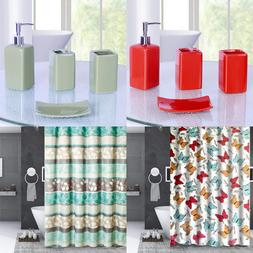 1P SHOWER CURTAIN WITH COVERED RINGS HOOKS BATHROOM SET NEW