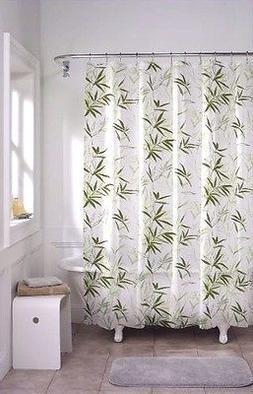 100%PEVA Shower Curtain Liner Bamboo leaf Hooks Ocean Beach