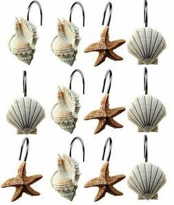 12 Shower Curtain Coastal Decorative Hooks Ocean Beach Starf