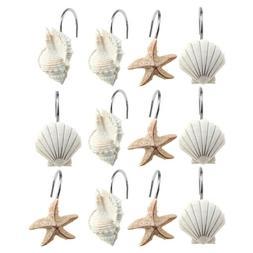 12 PCS DECORATIVE Seashell Shower Curtain Hooks Bathroom Bea