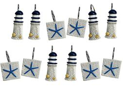 12 Shower Curtain Decorative Hooks Rings Lighthouse Light Ho