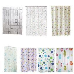 12Hooks Waterproof Shower Curtain Bathroom Liners PEVA Plast