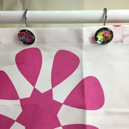 12Pcs Shower Curtain Hooks Rhinestone Bling Slide Bathhroom