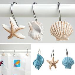12X Resin Decorative Seashell Shower Curtain Hooks Bathroom
