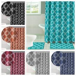 15PC Bathroom Bath Rugs Mats and Shower Curtain Set 2-Tone M
