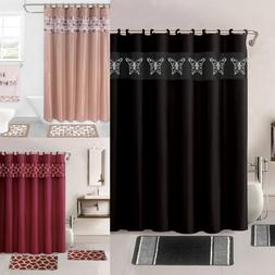 15PC PRINTED BANDED BATHROOM SHOWER CURTAIN SET BATH MAT FAB
