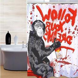 180*200cm Chimpanzee Graffiti Follow Your Dreams Monkey Bath