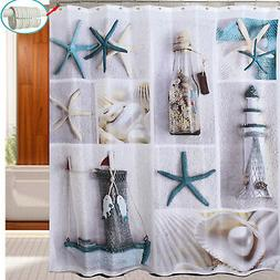 180CM Waterproof Bath Shower Curtain Nautical Beach Seashell