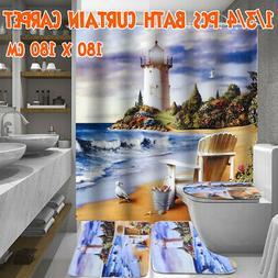 180x180cm Sea & Lighthouse Bathroom Shower Curtain Toilet No