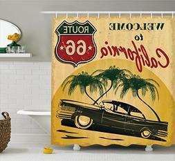 1960s Decor Shower Curtain by Ambesonne, Retro Welcome to Ca