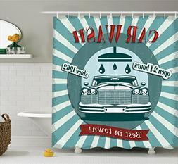 Ambesonne 1960S Decor Shower Curtain Set, Vintage Graphic De