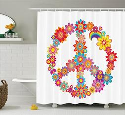 Ambesonne 1960s Decorations Collection, Peace Flower Symbol