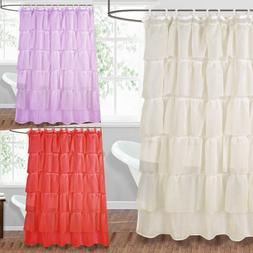 1PC BATHROOM RUFFLE BATH SHOWER CURTAIN LAYERED VOILE SHEER