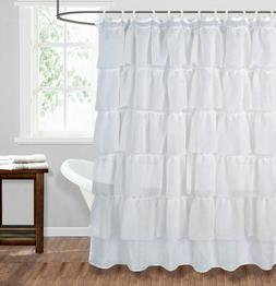1PC WHITE SOLID RUFFLE GYPSY BATHROOM BATH SHOWER CURTAIN LA