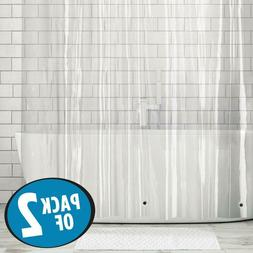 2 Pack Heavy Duty Clear Shower Curtain Liner Mildew Resistan