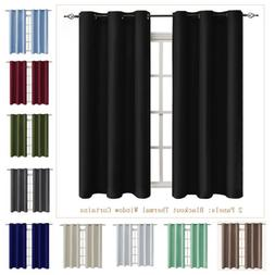 Blackout Window Curtains 2 Panels Thermal Insulated Drapes G