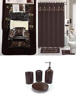 22 Piece Bath Accessory Set Chocolate Brown Bathroom Rug Set