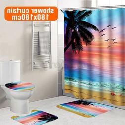 3/4pcs Beach Bathroom Polyester Shower Curtain Non Slip Toil