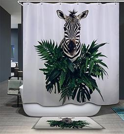Xpooers 3D Black White Zebra Pattern Polyester Waterproof Sh