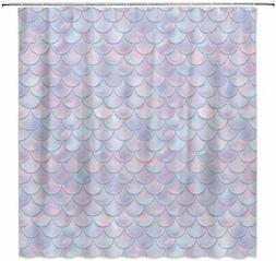 qianliansheji 3D Mermaid Scales Shower Curtain Lilac Purple