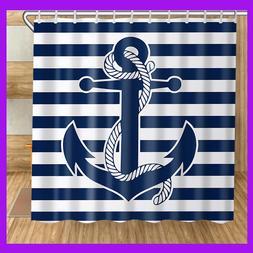 3D Print Nautical Navy Anchor Shower Curtain Bathroom Decor-