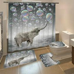 Waterproof 3D Printing Bubbles Elephant Bathroom Shower Curtain Toilet Cover