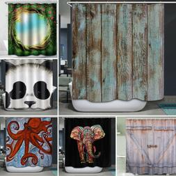 3D Shower Curtain Bathroom Waterproof 6 Pattern Print Fabric