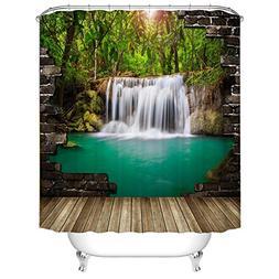 Fangkun 3D Shower Curtain Waterfall Wall Landscape Art Paint