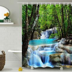 3D Waterfall Bathroom Shower Curtain Polyester Fabric 180*20