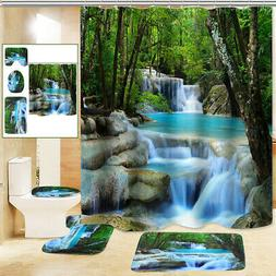 3D Waterfall Shower Curtain Non-Slip Bathroom Decor Toilet C