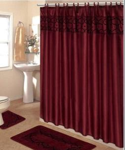 4 Piece Bathroom Rug Set/ 3 Piece Burgundy Flocking Bath Rug