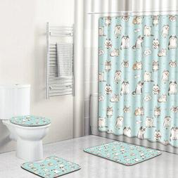 4 Pcs Cat Bathroom Polyester Shower Curtain Non Slip Toilet