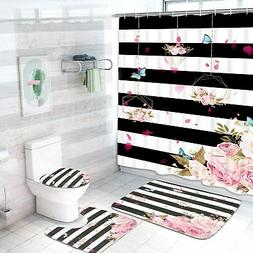 4 Pcs Floral Shower Curtain Sets with Non-Slip Rugs, Toilet