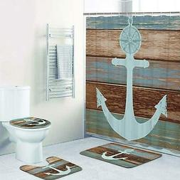 4 Piece Anchor Shower Curtain Sets with Non Slip Rugs Toilet