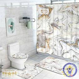 4 Piece Marble Texture Shower Curtain Sets with Non-Slip Rug