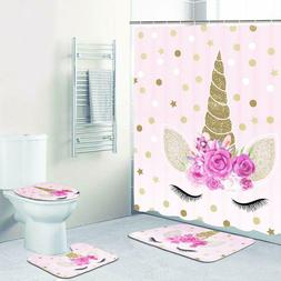 4 Piece Unicorn Shower Curtain Sets with Non Slip Rugs Toile