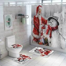 4Pcs Christmas Snowman Shower Curtain Anti-slip Bathroom Car
