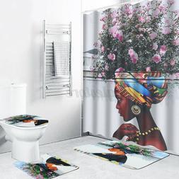 4Pcs Lion Shower Curtain Bath Mat Set Toilet Lid Cover Home