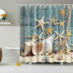 4Pcs Ocean Theme Shower Curtain Toilet Cover Mat Rug Set Bat