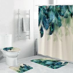 4Pcs/Set Anti-Slip Bathroom Toilet Rug+Lid Toilet Cover+Bath