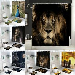 4PCS/Set Bathroom Polyester Shower Curtain Non Slip Toilet C