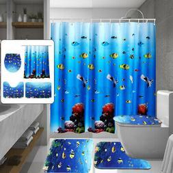 4Pcs/Set Bathroom Shower Curtain+Non-Slip Pedestal Rug+Lid T