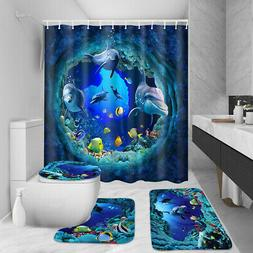 4Pcs Shark Deep Sea Shower Curtain Bath Mat Pedestal Rug Toi