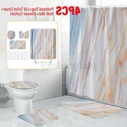4pcs Stone pattern Bathroom Shower Curtain Toilet Waterproof