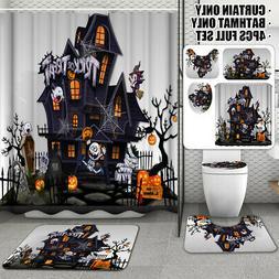 4Pcs US Halloween Castle Shower Curtain Bathroom Carpet Rug