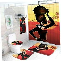 5 Pcs Afro Girl Shower Curtain Sets with Rugs and Towels Inc