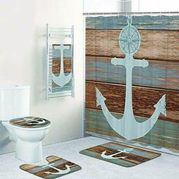 5 Pcs Anchor Shower Curtain Sets with Rugs and Towels, Inclu