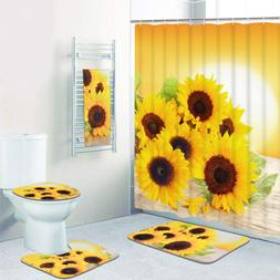 Pknoclan 5 Pcs Sunflowers Shower Curtain Sets with Rugs and